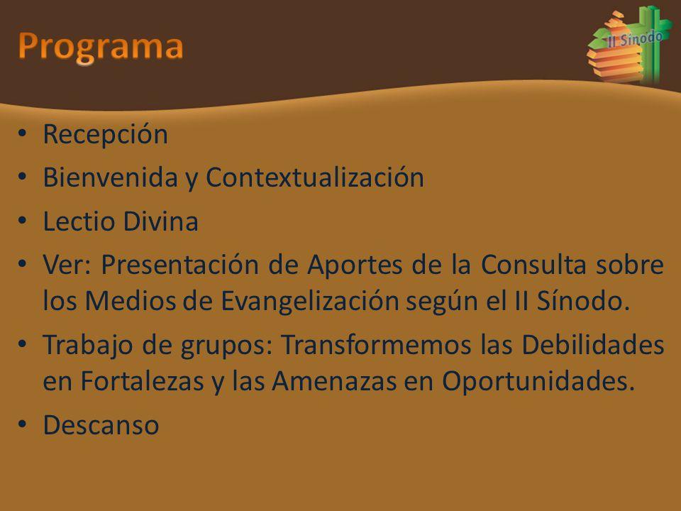 Recepción Bienvenida y Contextualización Lectio Divina Ver: Presentación de Aportes de la Consulta sobre los Medios de Evangelización según el II Síno