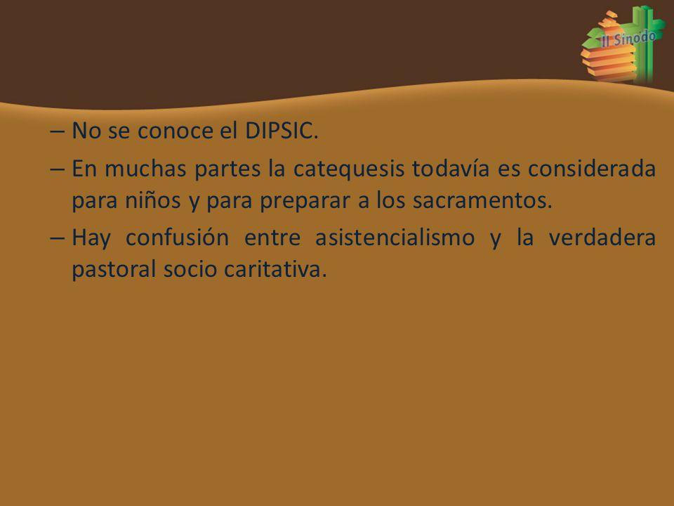 – No se conoce el DIPSIC. – En muchas partes la catequesis todavía es considerada para niños y para preparar a los sacramentos. – Hay confusión entre