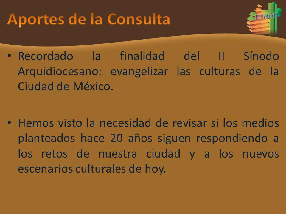 Recordado la finalidad del II Sínodo Arquidiocesano: evangelizar las culturas de la Ciudad de México. Hemos visto la necesidad de revisar si los medio