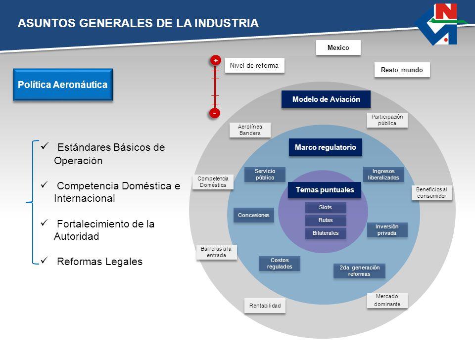 ASUNTOS GENERALES DE LA INDUSTRIA Estándares Básicos de Operación Competencia Doméstica e Internacional Fortalecimiento de la Autoridad Reformas Legal