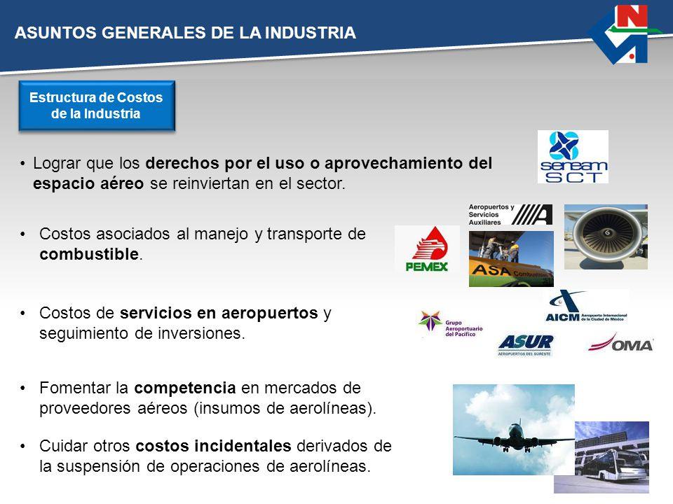 ASUNTOS GENERALES DE LA INDUSTRIA Lograr que los derechos por el uso o aprovechamiento del espacio aéreo se reinviertan en el sector. Estructura de Co