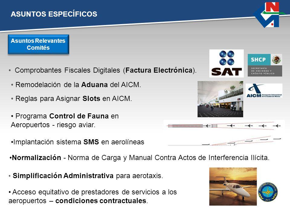 ASUNTOS ESPECÍFICOS Comprobantes Fiscales Digitales (Factura Electrónica). Asuntos Relevantes Comités Remodelación de la Aduana del AICM. Reglas para