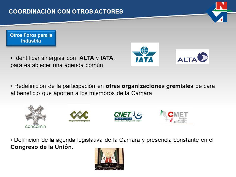 COORDINACIÓN CON OTROS ACTORES Identificar sinergias con ALTA y IATA, para establecer una agenda común. Otros Foros para la Industria Redefinición de