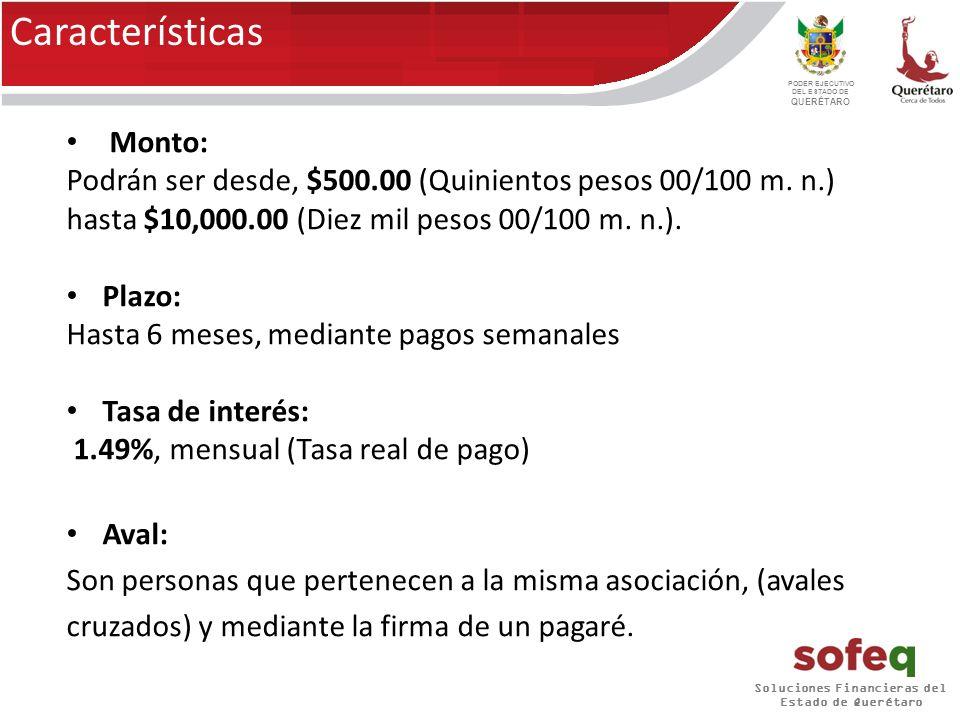 Soluciones Financieras del Estado de Querétaro PODER EJECUTIVO DEL ESTADO DE QUERÉTARO Características Monto: Podrán ser desde, $500.00 (Quinientos pesos 00/100 m.