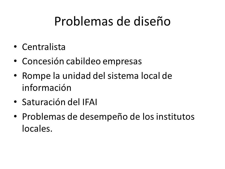Problemas de diseño Centralista Concesión cabildeo empresas Rompe la unidad del sistema local de información Saturación del IFAI Problemas de desempeñ
