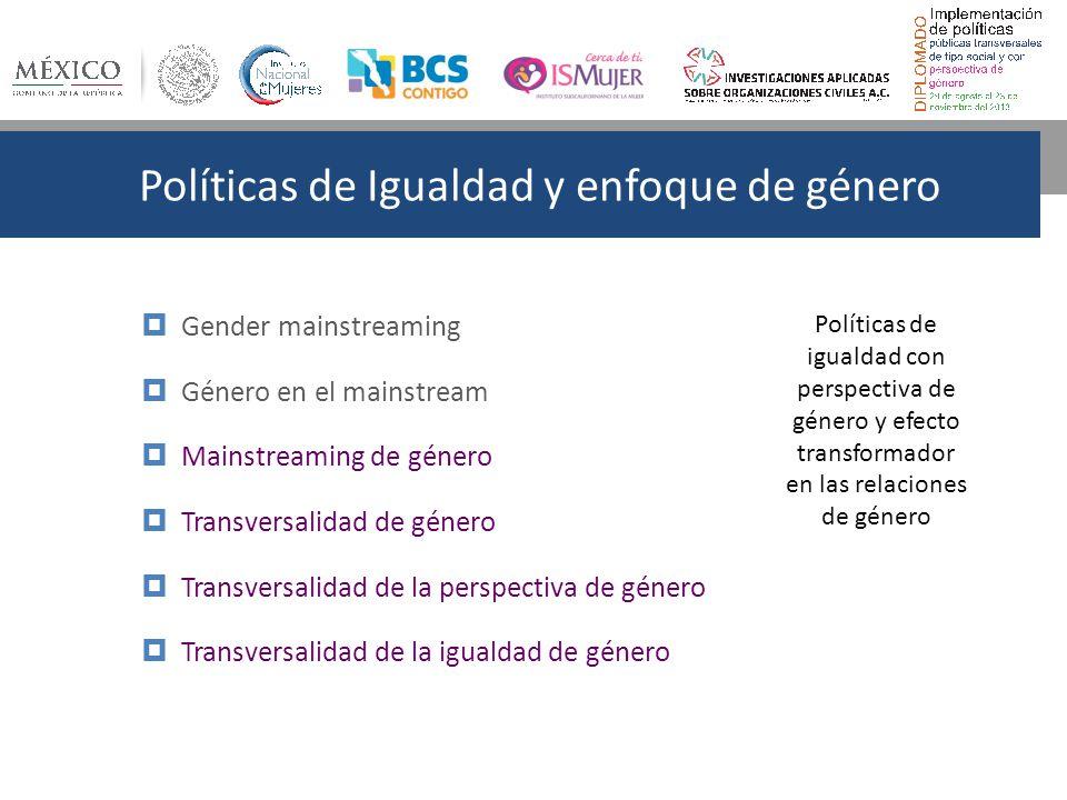 Políticas de Igualdad y enfoque de género Gender mainstreaming Género en el mainstream Mainstreaming de género Transversalidad de género Transversalidad de la perspectiva de género Transversalidad de la igualdad de género Políticas de igualdad con perspectiva de género y efecto transformador en las relaciones de género