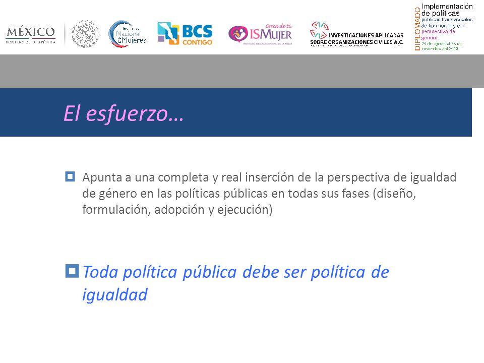 El esfuerzo… Apunta a una completa y real inserción de la perspectiva de igualdad de género en las políticas públicas en todas sus fases (diseño, formulación, adopción y ejecución) Toda política pública debe ser política de igualdad