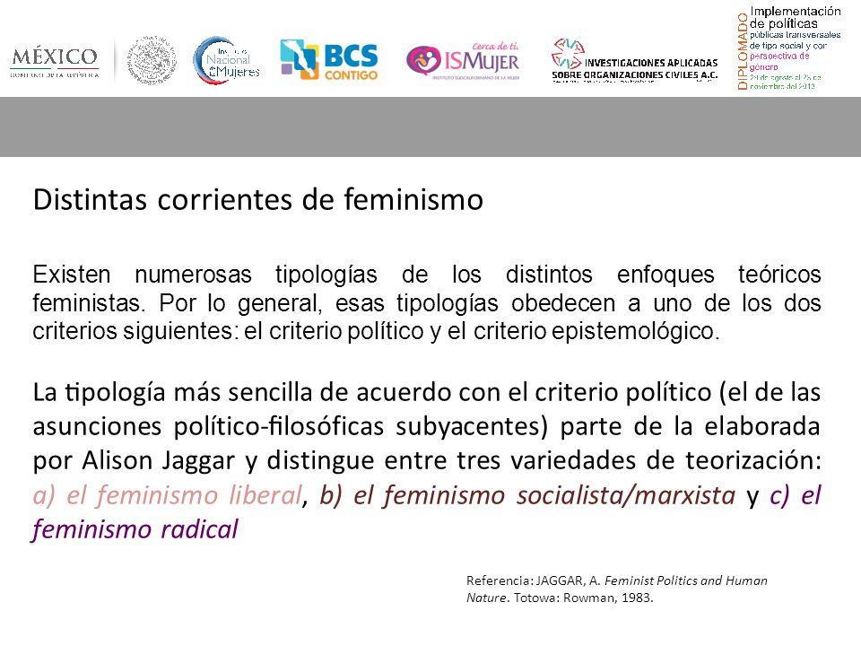 Distintas corrientes de feminismo Existen numerosas tipologías de los distintos enfoques teóricos feministas.
