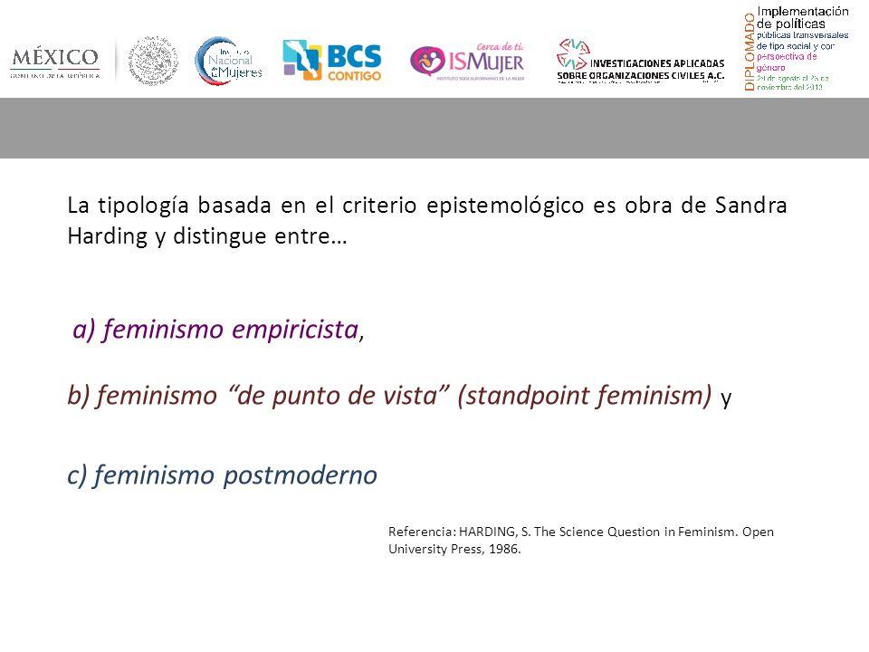 La tipología basada en el criterio epistemológico es obra de Sandra Harding y distingue entre… a) feminismo empiricista, b) feminismo de punto de vista (standpoint feminism) y c) feminismo postmoderno Referencia: HARDING, S.