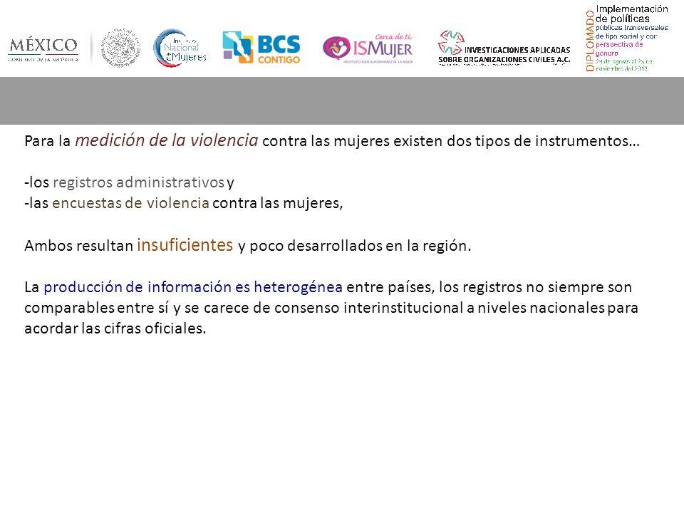 Para la medición de la violencia contra las mujeres existen dos tipos de instrumentos… -los registros administrativos y -las encuestas de violencia co