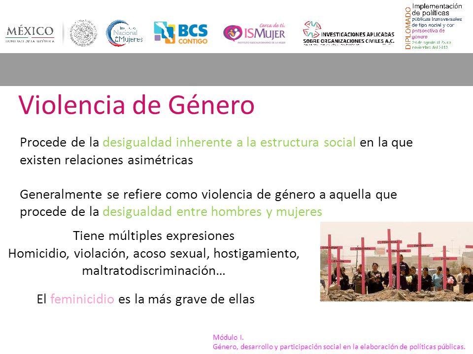 Módulo I. Género, desarrollo y participación social en la elaboración de políticas públicas. Violencia de Género Procede de la desigualdad inherente a