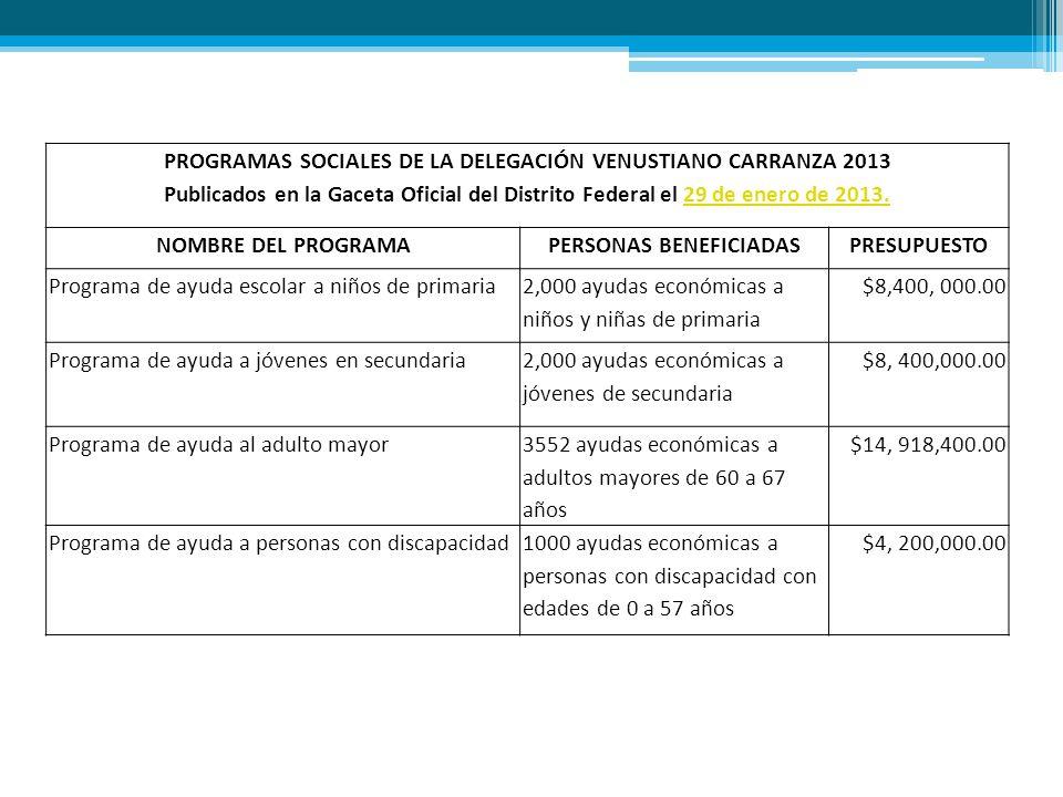 PROGRAMAS SOCIALES DE LA DELEGACIÓN VENUSTIANO CARRANZA 2013 Publicados en la Gaceta Oficial del Distrito Federal el 29 de enero de 2013.29 de enero de 2013.