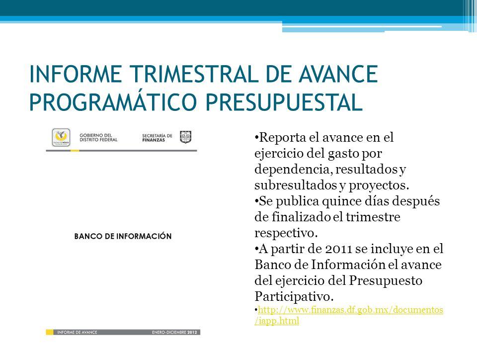 INFORME TRIMESTRAL DE AVANCE PROGRAMÁTICO PRESUPUESTAL Reporta el avance en el ejercicio del gasto por dependencia, resultados y subresultados y proyectos.