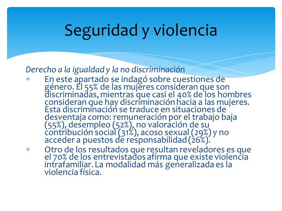 Seguridad y violencia Derecho a la seguridad De las respuestas obtenidas el 54% de los habitantes de esta región califican su entorno entre inseguro y muy inseguro.