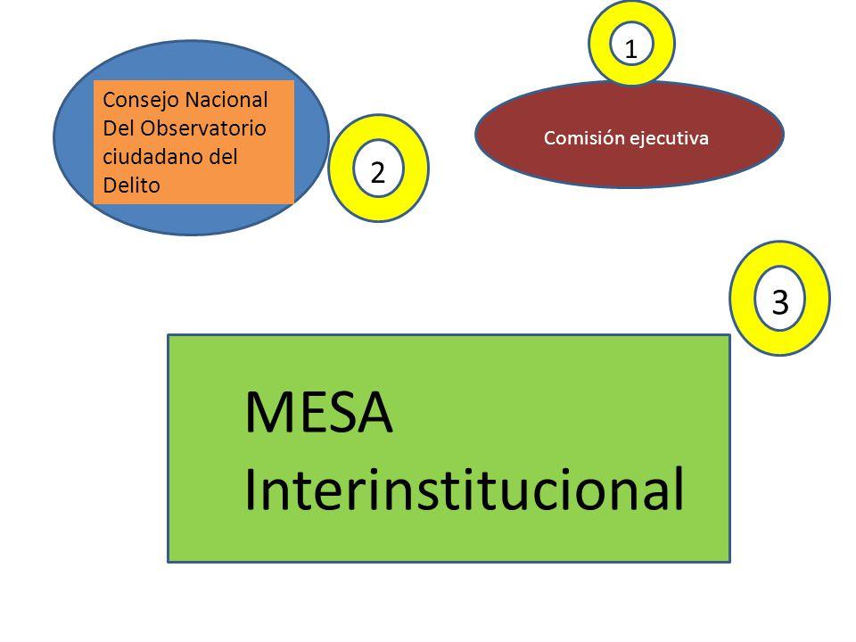 Consejo Nacional Del Observatorio ciudadano del Delito Comisión ejecutiva MESA Interinstitucional 1 2 3