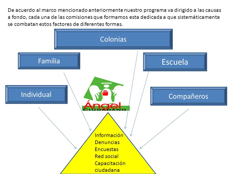 De acuerdo al marco mencionado anteriormente nuestro programa va dirigido a las causas a fondo, cada una de las comisiones que formamos esta dedicada a que sistemáticamente se combatan estos factores de diferentes formas.