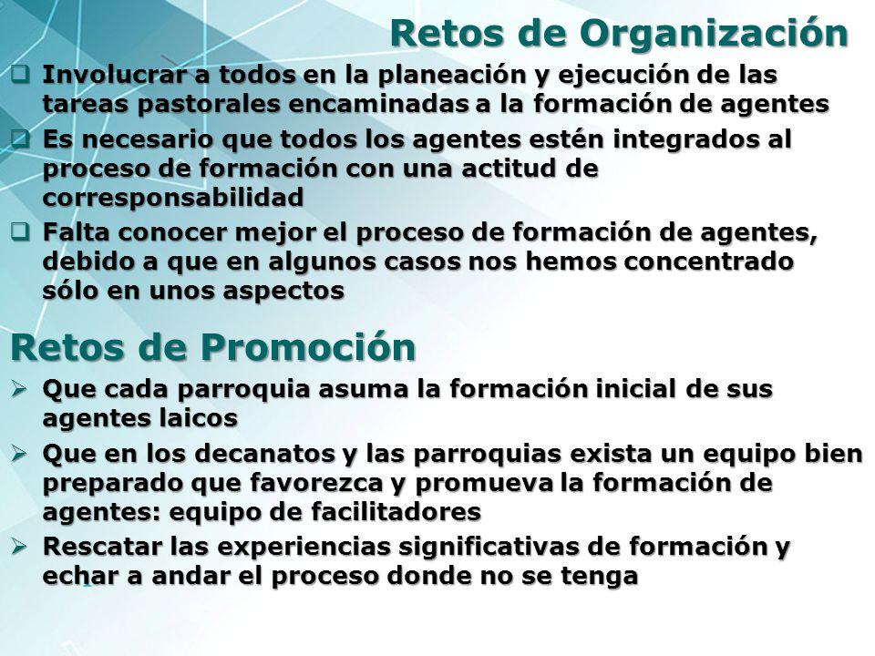 1 Retos de Organización Involucrar a todos en la planeación y ejecución de las tareas pastorales encaminadas a la formación de agentes Involucrar a to