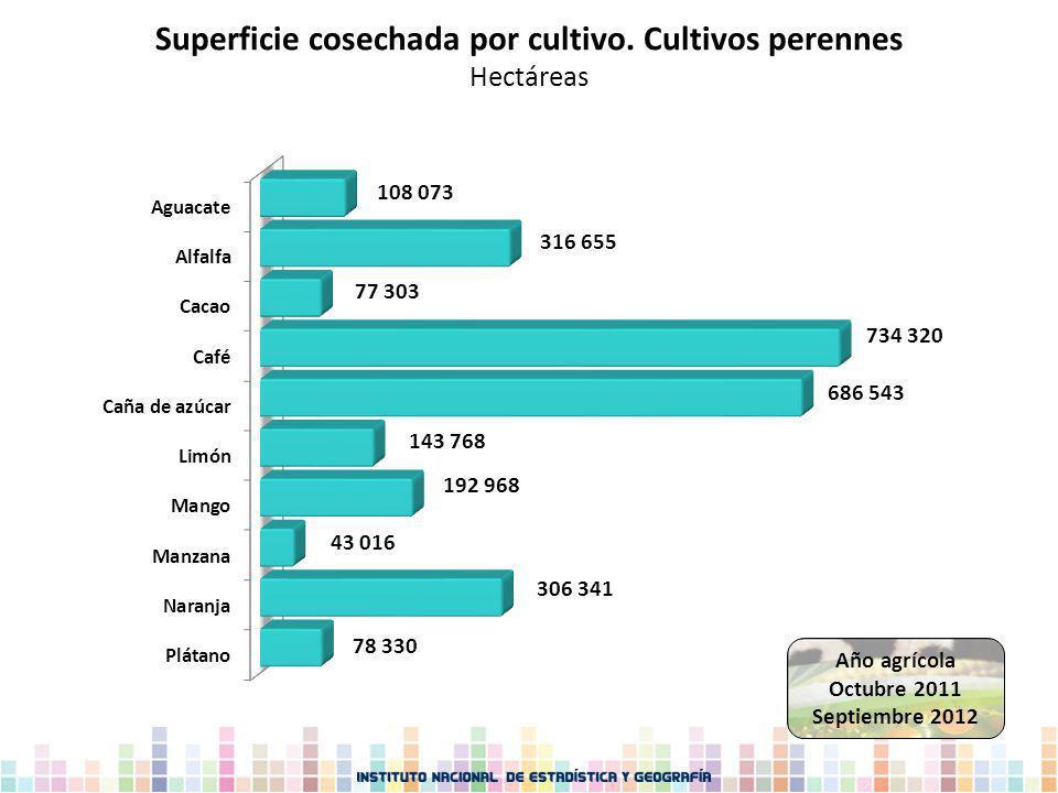 Superficie cosechada por cultivo. Cultivos perennes Hectáreas Año agrícola Octubre 2011 Septiembre 2012