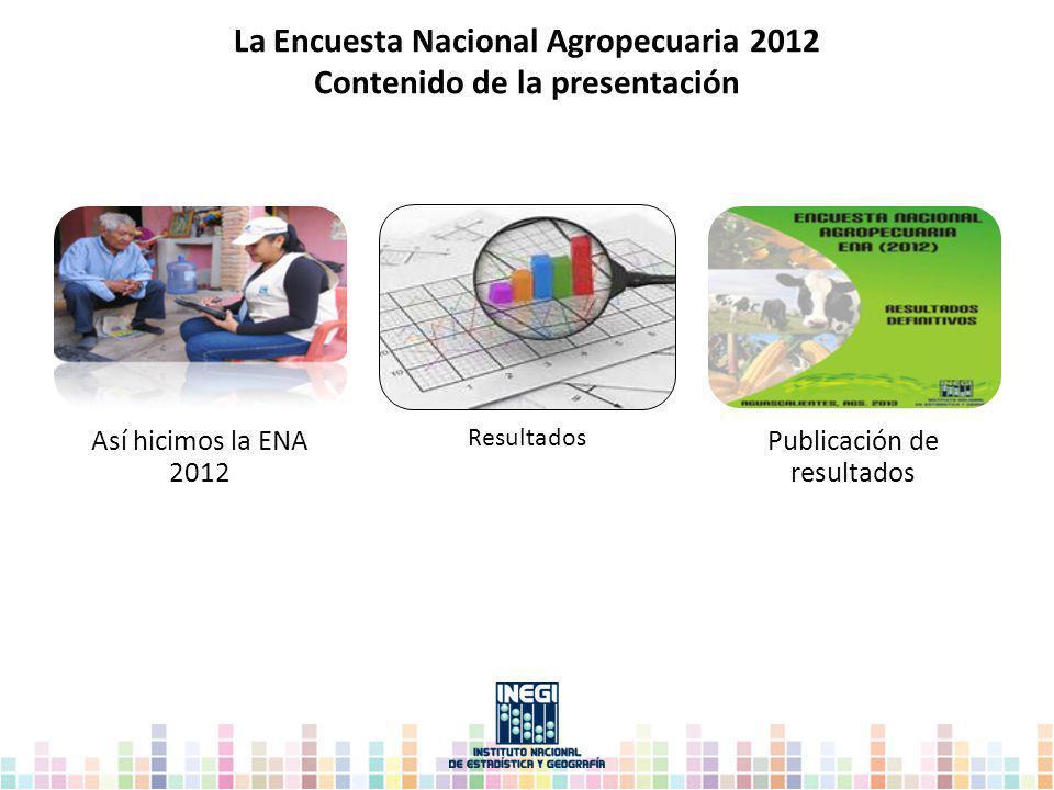 La Encuesta Nacional Agropecuaria 2012 Contenido de la presentación Así hicimos la ENA 2012 Resultados Publicación de resultados