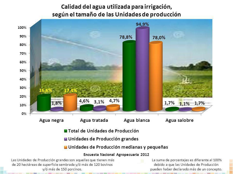Calidad del agua utilizada para irrigación, según el tamaño de las Unidades de producción La suma de porcentajes es diferente al 100% debido a que las