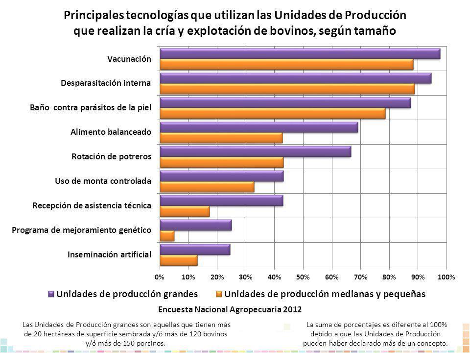 Principales tecnologías que utilizan las Unidades de Producción que realizan la cría y explotación de bovinos, según tamaño La suma de porcentajes es