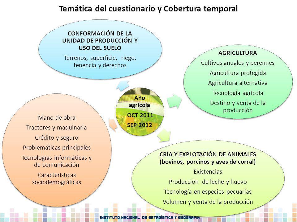 Año agrícola OCT 2011 SEP 2012 CONFORMACIÓN DE LA UNIDAD DE PRODUCCIÓN Y USO DEL SUELO Terrenos, superficie, riego, tenencia y derechos AGRICULTURA Cu