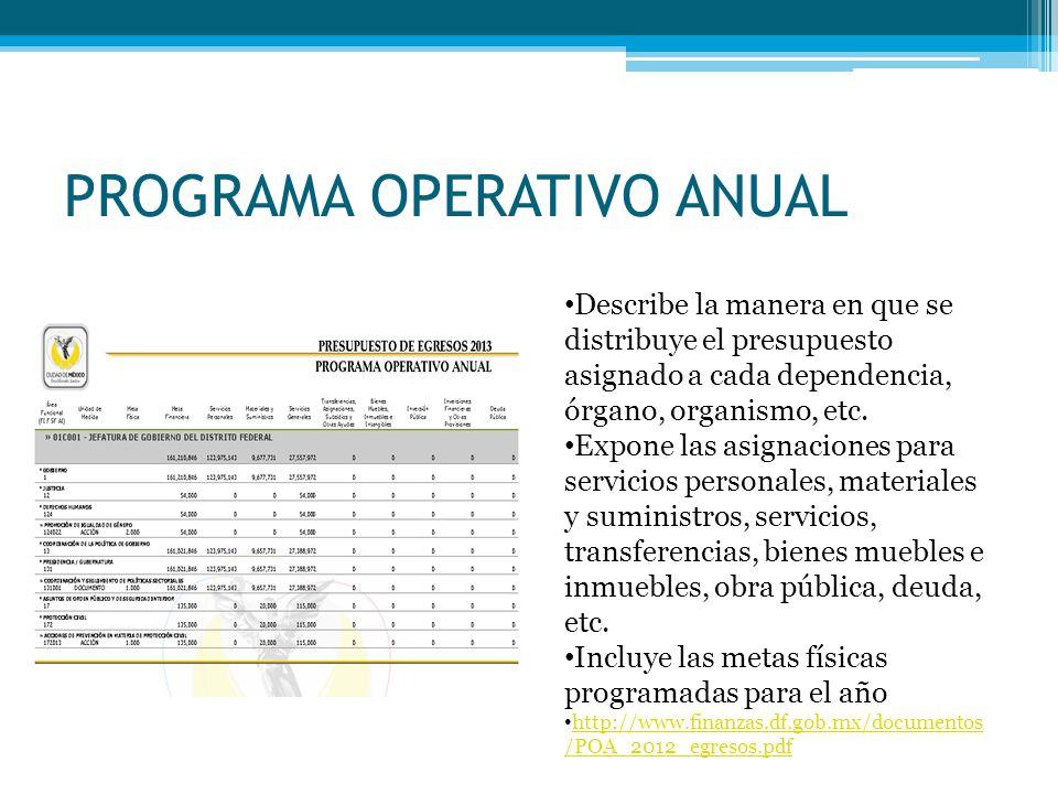 PROGRAMA OPERATIVO ANUAL Describe la manera en que se distribuye el presupuesto asignado a cada dependencia, órgano, organismo, etc. Expone las asigna