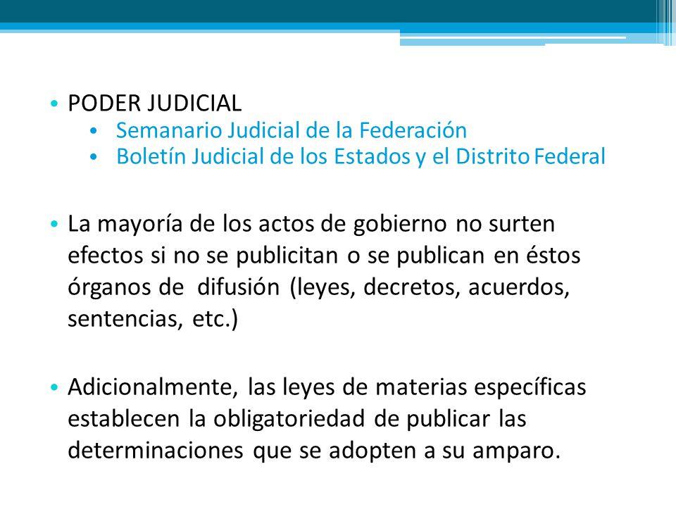 PODER JUDICIAL Semanario Judicial de la Federación Boletín Judicial de los Estados y el Distrito Federal La mayoría de los actos de gobierno no surten