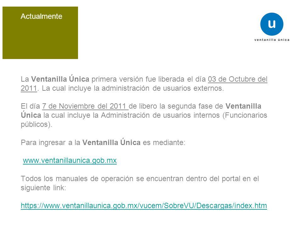 La Ventanilla Única primera versión fue liberada el día 03 de Octubre del 2011.