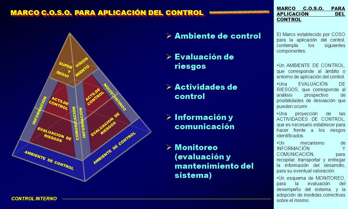 MARCO C.O.S.O. PARA APLICACIÓN DEL CONTROL El Marco establecido por COSO para la aplicación del control, contempla los siguientes componentes: Un AMBI