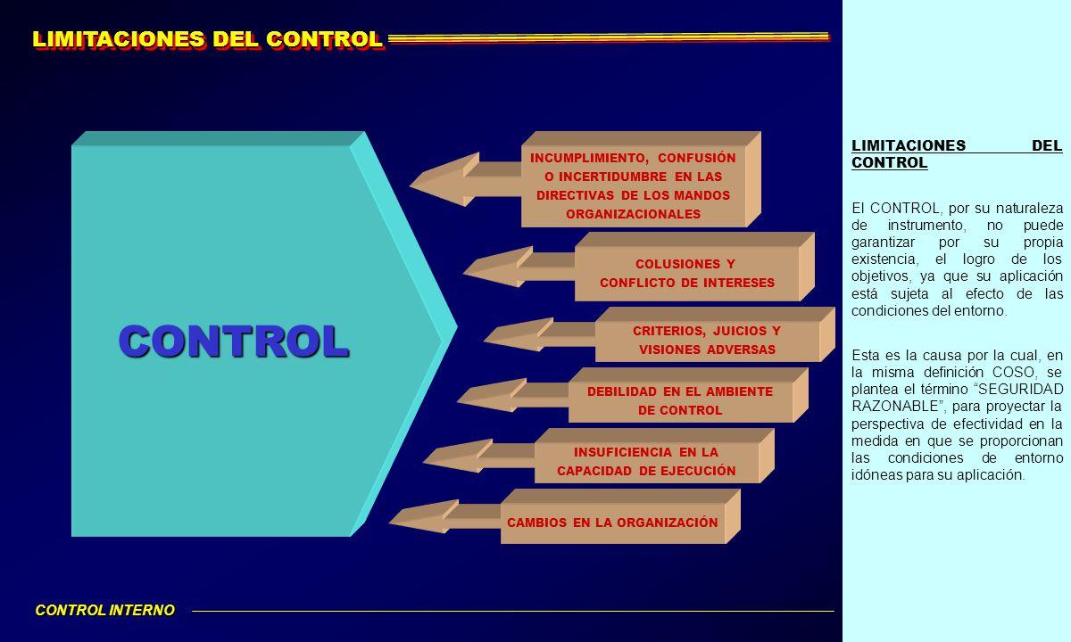 LIMITACIONES DEL CONTROL El CONTROL, por su naturaleza de instrumento, no puede garantizar por su propia existencia, el logro de los objetivos, ya que