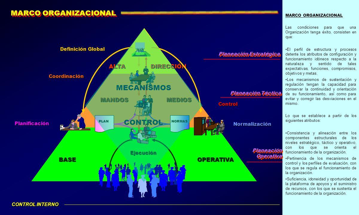 MARCO ORGANIZACIONAL Las condiciones para que una Organización tenga éxito, consisten en que: El perfil de estructura y procesos detente los atributos