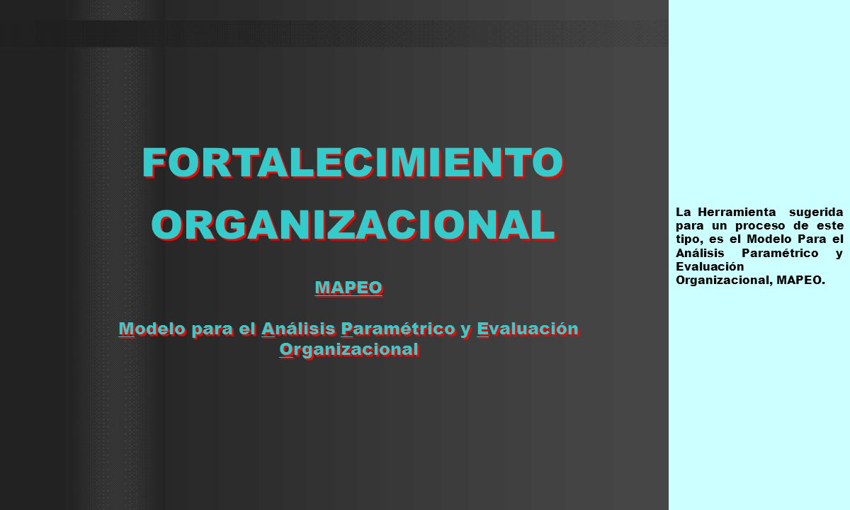 La Herramienta sugerida para un proceso de este tipo, es el Modelo Para el Análisis Paramétrico y Evaluación Organizacional, MAPEO. MAPEO Modelo para