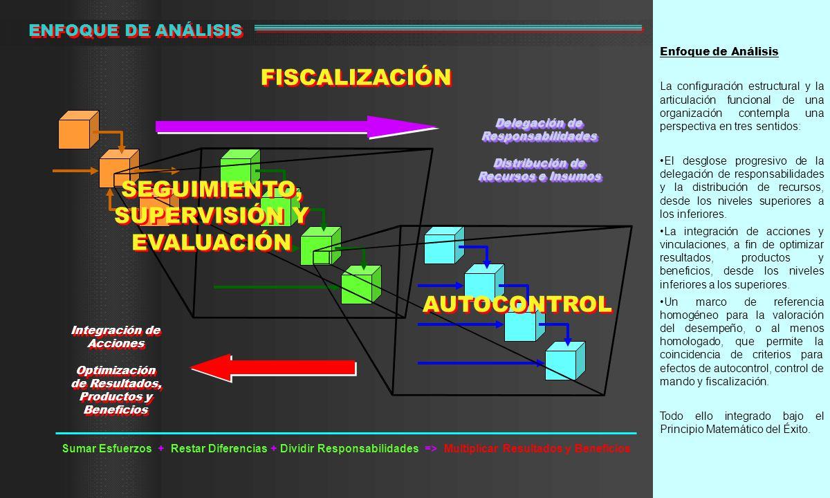 Enfoque de Análisis La configuración estructural y la articulación funcional de una organización contempla una perspectiva en tres sentidos: El desglose progresivo de la delegación de responsabilidades y la distribución de recursos, desde los niveles superiores a los inferiores.