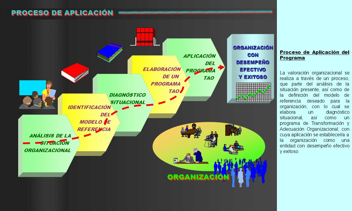 Proceso de Aplicación del Programa La valoración organizacional se realiza a través de un proceso, que parte del análisis de la situación presente, así como de la definición del modelo de referencia deseado para la organización, con lo cual se elabora un diagnóstico situacional, así como un programa de Transformación y Adecuación Organizacional, con cuya aplicación se establecería a la organización como una entidad con desempeño efectivo y exitoso.
