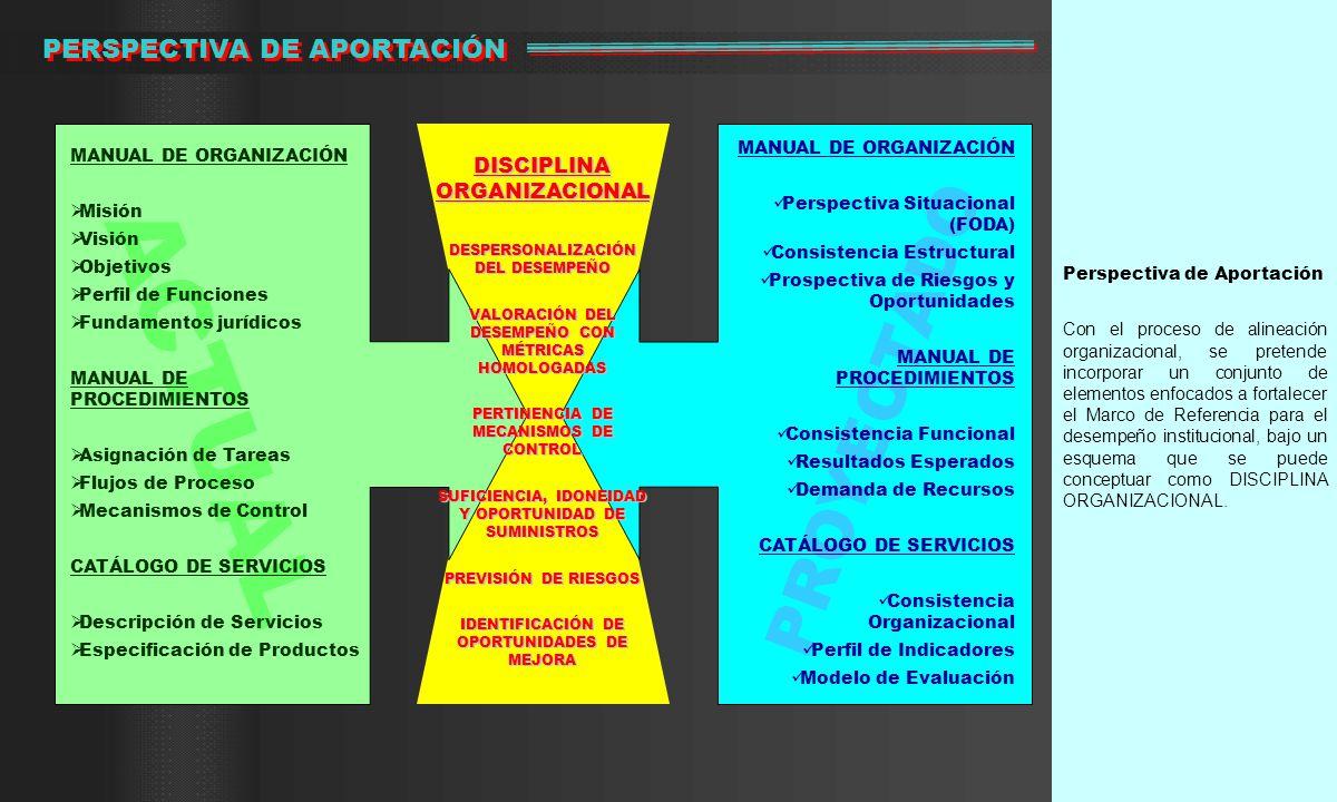 Perspectiva de Aportación Con el proceso de alineación organizacional, se pretende incorporar un conjunto de elementos enfocados a fortalecer el Marco de Referencia para el desempeño institucional, bajo un esquema que se puede conceptuar como DISCIPLINA ORGANIZACIONAL.