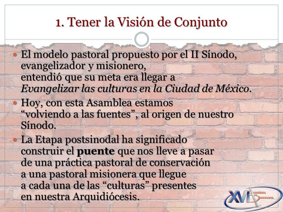 El modelo pastoral propuesto por el II Sínodo, evangelizador y misionero, entendió que su meta era llegar a Evangelizar las culturas en la Ciudad de México.
