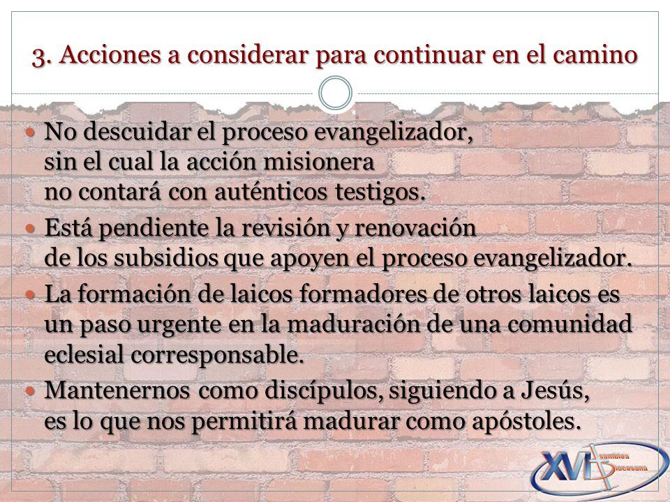 3. Acciones a considerar para continuar en el camino No descuidar el proceso evangelizador, sin el cual la acción misionera no contará con auténticos