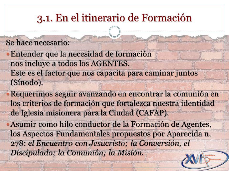 3.1. En el itinerario de Formación Se hace necesario: Entender que la necesidad de formación nos incluye a todos los AGENTES. Este es el factor que no