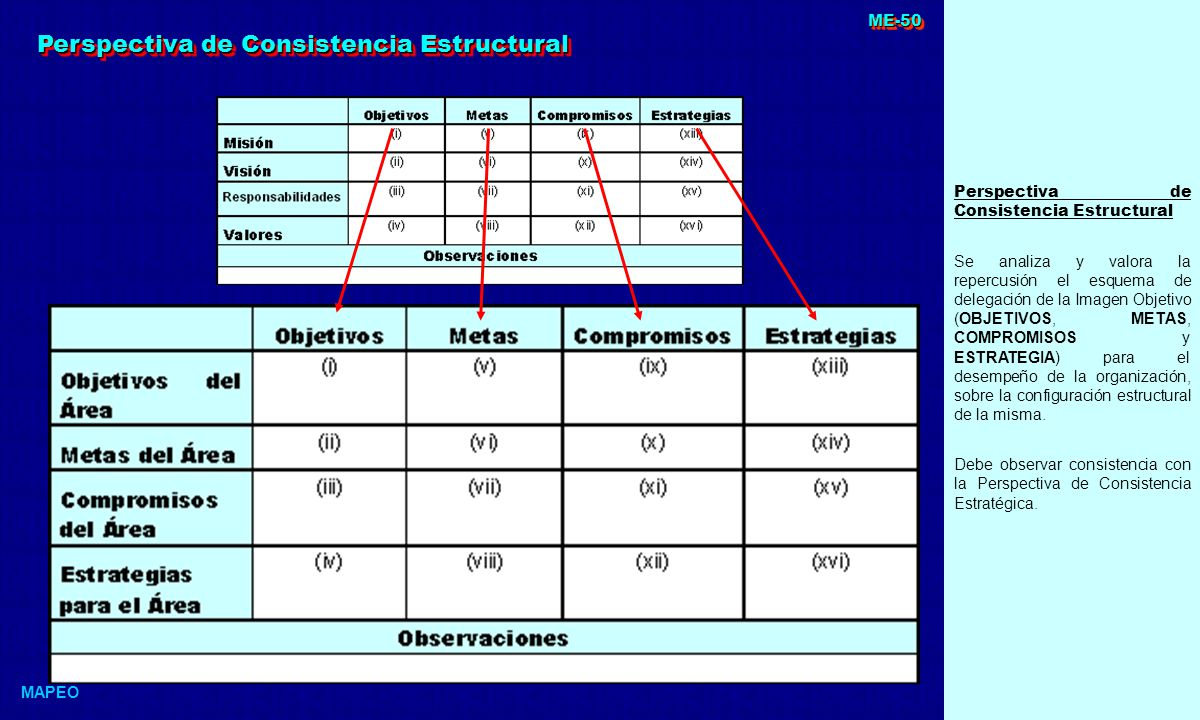 Perspectiva de Consistencia Estructural Se analiza y valora la repercusión el esquema de delegación de la Imagen Objetivo (OBJETIVOS, METAS, COMPROMISOS y ESTRATEGIA) para el desempeño de la organización, sobre la configuración estructural de la misma.