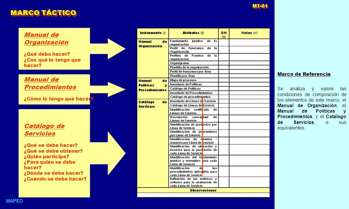 Marco de Referencia Se analiza y valora las condiciones de composición de los elementos de este marco, el Manual de Organización, el Manual de Políticas y Procedimientos, y el Catálogo de Servicios, o sus equivalentes.