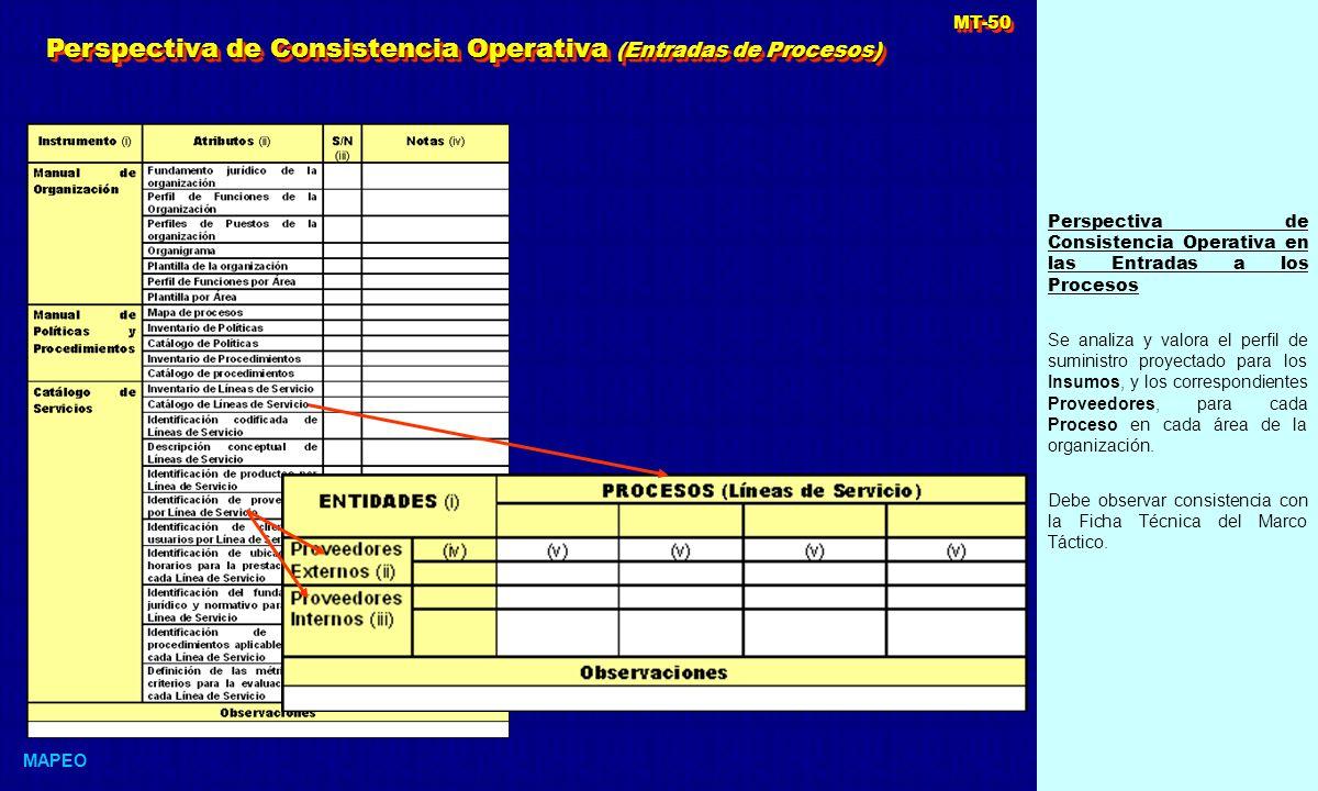 Perspectiva de Consistencia Operativa en las Entradas a los Procesos Se analiza y valora el perfil de suministro proyectado para los Insumos, y los correspondientes Proveedores, para cada Proceso en cada área de la organización.