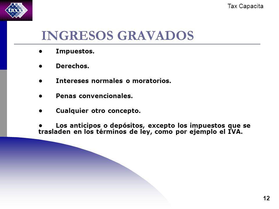 Tax Capacita 12 INGRESOS GRAVADOS Impuestos. Derechos.