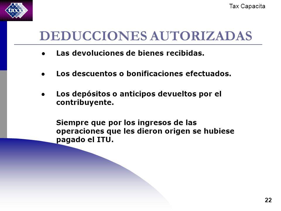 Tax Capacita 22 DEDUCCIONES AUTORIZADAS Las devoluciones de bienes recibidas.