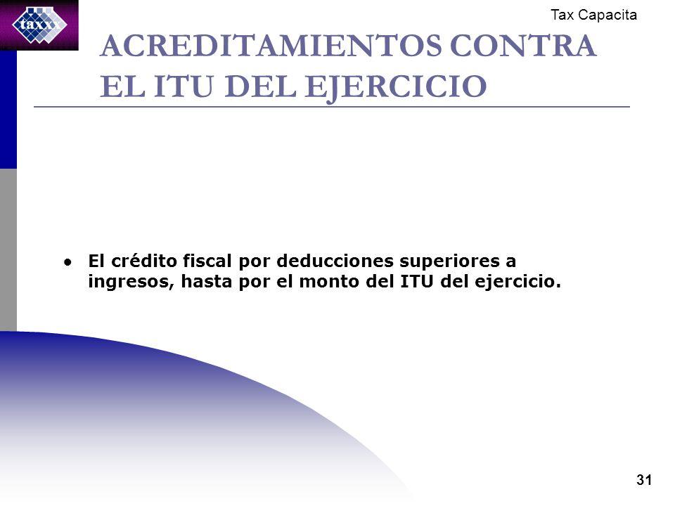Tax Capacita 31 ACREDITAMIENTOS CONTRA EL ITU DEL EJERCICIO El crédito fiscal por deducciones superiores a ingresos, hasta por el monto del ITU del ejercicio.