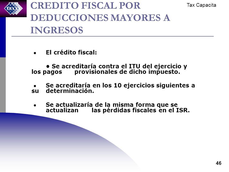 Tax Capacita 46 CREDITO FISCAL POR DEDUCCIONES MAYORES A INGRESOS El crédito fiscal: Se acreditaría contra el ITU del ejercicio y los pagos provisionales de dicho impuesto.