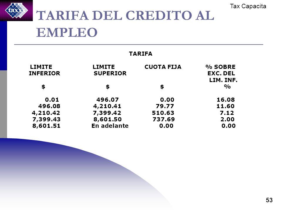 Tax Capacita 53 TARIFA DEL CREDITO AL EMPLEO TARIFA LIMITE LIMITE CUOTA FIJA % SOBRE INFERIOR SUPERIOR EXC. DEL LIM. INF. $ $ $ % 0.01 496.07 0.00 16.