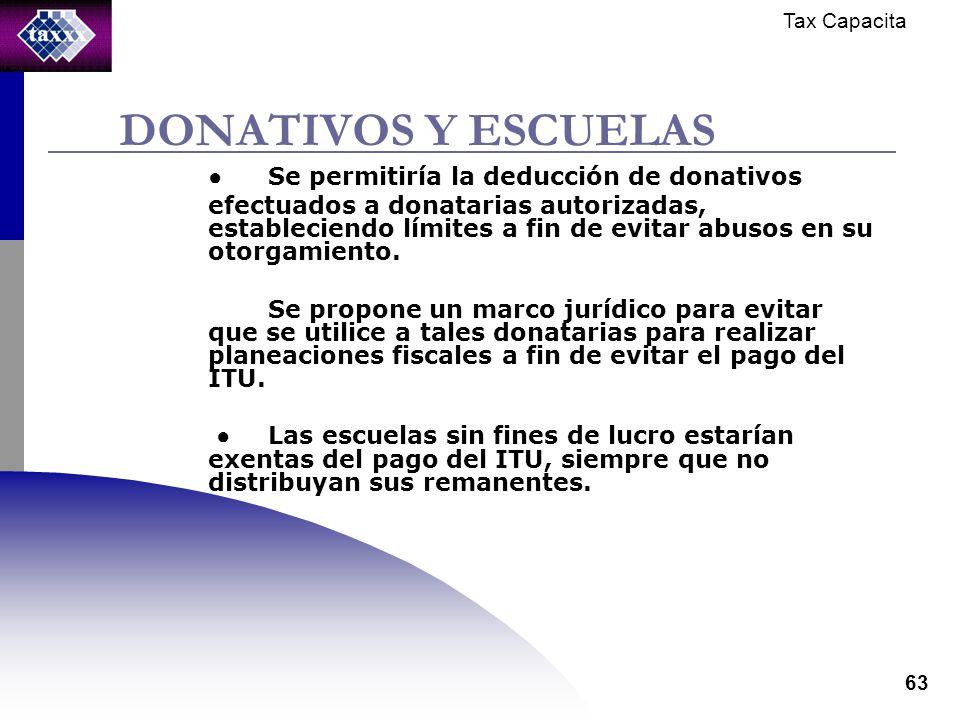 Tax Capacita 63 DONATIVOS Y ESCUELAS Se permitiría la deducción de donativos efectuados a donatarias autorizadas, estableciendo límites a fin de evitar abusos en su otorgamiento.