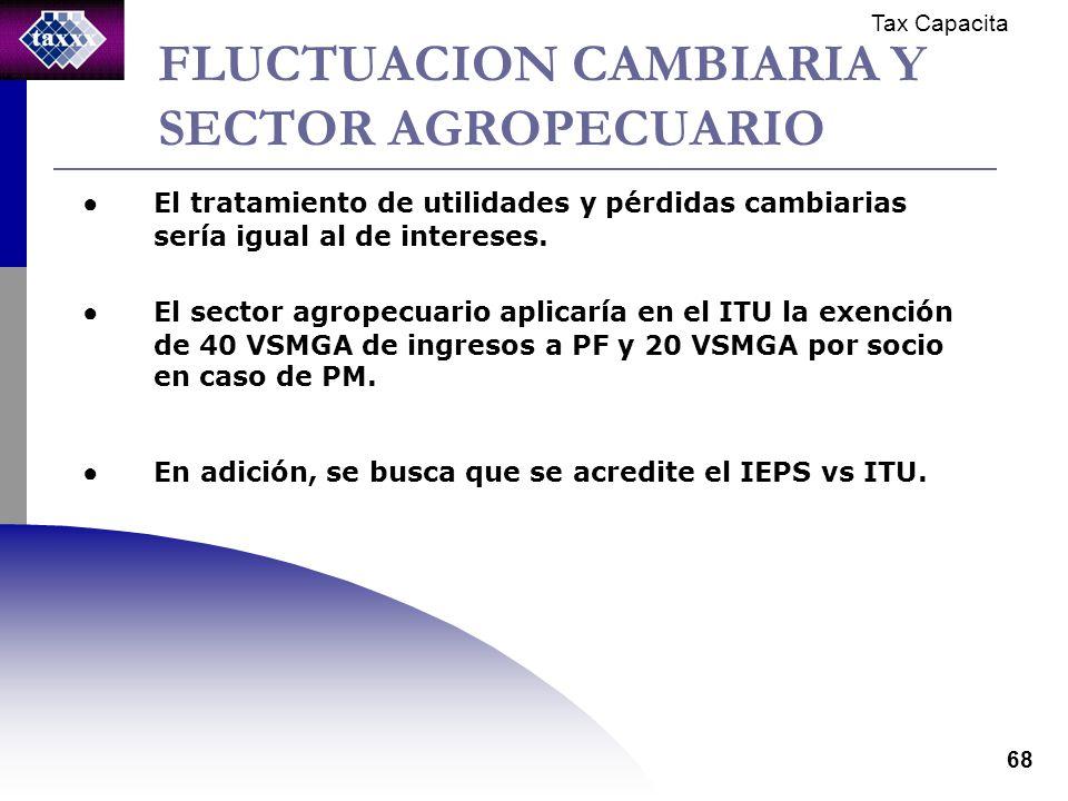 Tax Capacita 68 FLUCTUACION CAMBIARIA Y SECTOR AGROPECUARIO El tratamiento de utilidades y pérdidas cambiarias sería igual al de intereses.