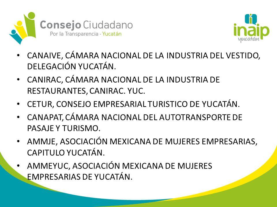 CANAIVE, CÁMARA NACIONAL DE LA INDUSTRIA DEL VESTIDO, DELEGACIÓN YUCATÁN.